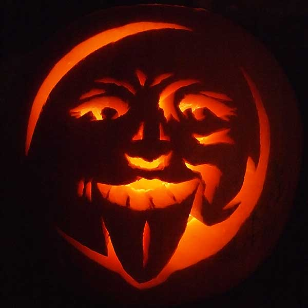 Man in the Moon Pumpkin Face Carving Pattern