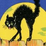 Retro Black Cat Postcard Art from Route 66