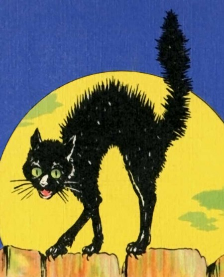 Retro Black Cat Postcard Art from Route 66 - Cropped version