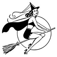 Retro Sexy Witch Halloween Clip Art