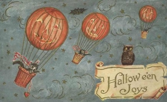 Vintage Hallowe'en Postcard of Pumpkin Jack o' Lantern Hot Air Balloons