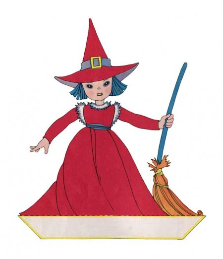 Vintage Cute Halloween Witch Paper Cut Out