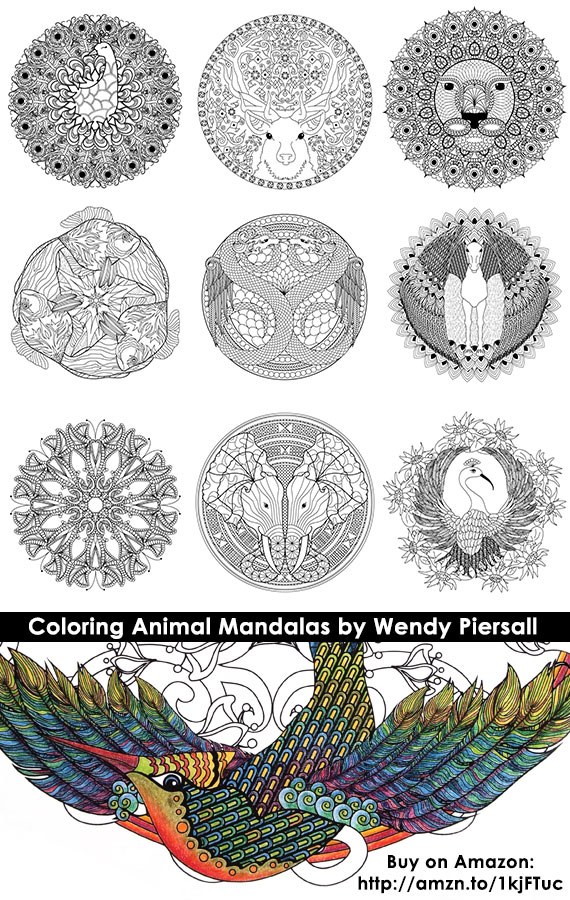 Coloring Animal Mandalas by Wendy Piersall - Book Preview