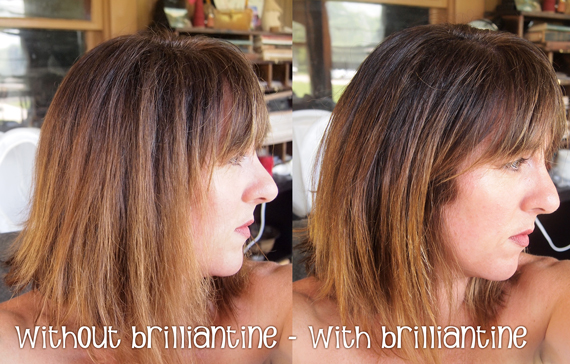 Dry hair with and without hair brilliantine added fro shine and definition