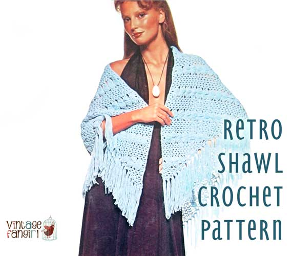 Retro Crochet Wrap Shawl Pattern In A Lacy Shell Stitch Vintage