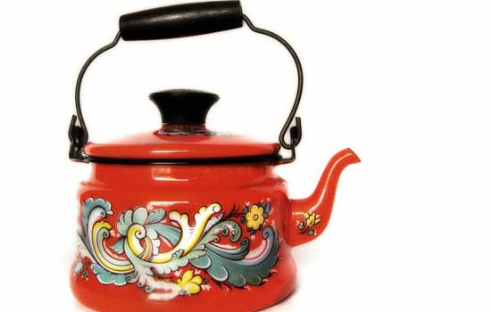 Vintage Berggren Enamelware - Kettle with Rosemaling