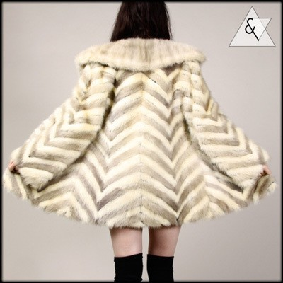 Vintage Chevron Fur Coat