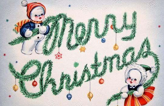 Printable Retro Merry Christmas Card
