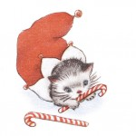 Printable Retro Christmas Card of a Kitten in a Stocking