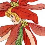 Poinsettia Flower Children Print from 1910