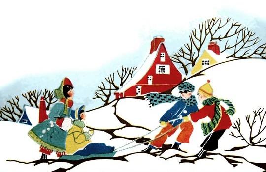 Vintage Christmas Card - Scene of Children Sledding