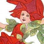 Whimsical Red Rose Flower Children Print from 1910