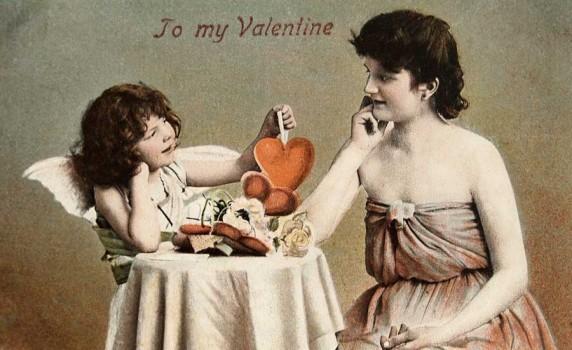 Vintage Hand-Tinted Valentine Photo Postcard