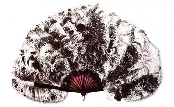 Vintage Clip Art - Ostrich Feather Fan