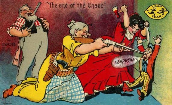"Vintage 1908 Leap Year Postcard ""The End of the Chase"""