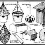 Vintage Bird Houses Clip Art