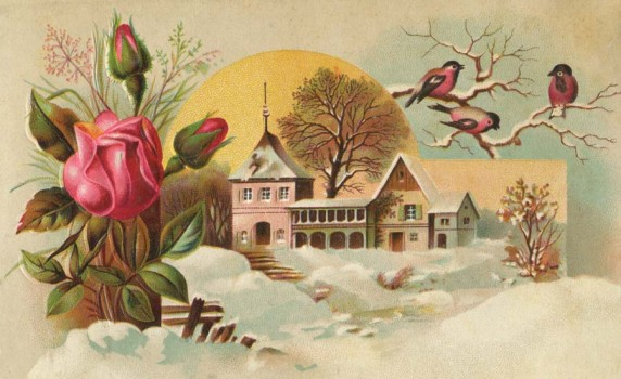 Victorian Early Spring Art with Snow, Flowers and Birds - Click for printable picture