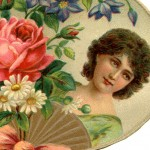 Pretty Victorian Era Woman with Spring Flowers Scrapbook Die Cut