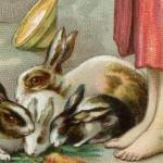 Lovely Peasant Girl Feeding Her Rabbits – Printable Vintage Art