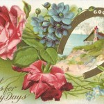 Beautiful Good Luck Horseshoes & Flowers Vintage Postcard