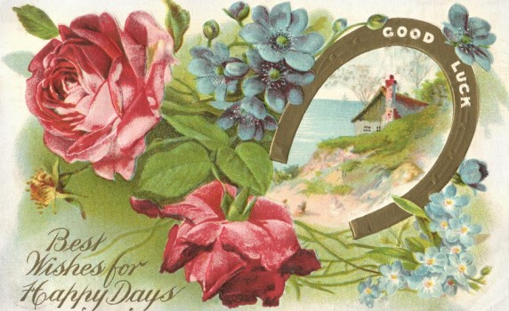 Antique Good Luck Horseshoe Postcard - Click for printable artwork