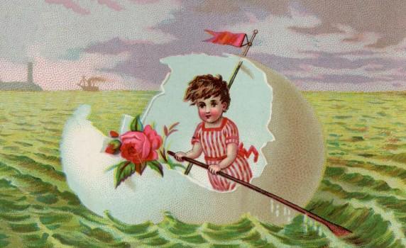 Vintage Eggshell Boat Print - Click for printable artwork