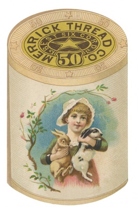 Vintage Merrick Thread Ad of a Child Holding Bunnies - Click for printable image