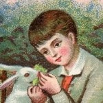 Adorable Victorian Art – Boy with Easter Bunnies