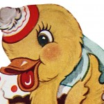 Retro Easter Hatching Duck Clip Art