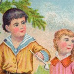 Sweet Victorian Trade Card Featuring Children Blowing Bubbles