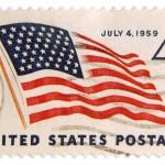 Vintage 4th of July Patriotic Postage Stamp Art to Print