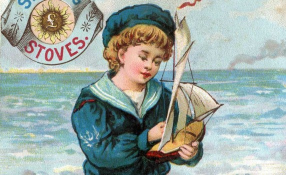 Vintage Sailor Boy Sterling Stoves Victorian Trade Card - Click for larger picture to print