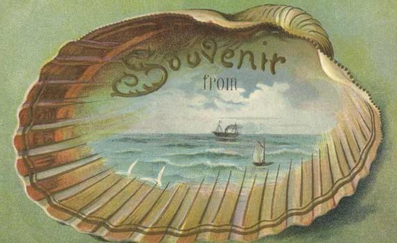 Pretty Edwardian Era Beach Souvenir Travel Postcard - Click for larger printable artwork